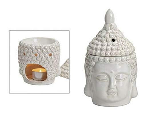 G.W. Duftlampe Buddha aus Keramik, weiß, für Teelichter, Ausführung mit abnehmbarem Duftdeckel, ideal für Duft- Öle und Wachse, Maße: Länge x Tiefe x Höhe = 20 x 20 x 11 cm Zuhause