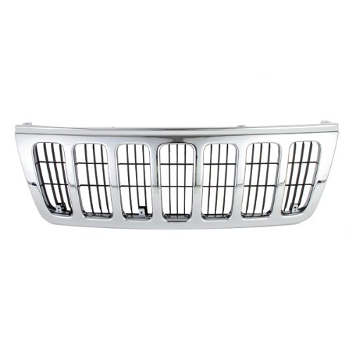 CarPartsDepot, Chrome Grille Outer Frame Front Assembly w/Matte Black Insert Body Part, 400-26102 CH1200234 CH1200234?