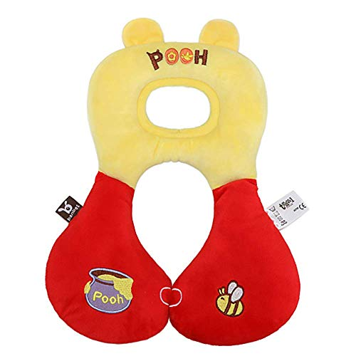 ZSJZSJ U-Shaped Head Support Baby car seat & Stroller headrest Pillow,Soft Head and Neck Support for Kids,Infant and Childern,Travel Car seat Pillow Cushion,Winnie-The-Pooh