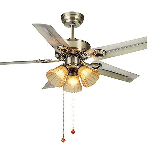 Ventilador de techo de bronce engrasado de 42 pulgadas con kit de luz, ventilador de techo de cadena de tirón industrial con iluminación, motor reversible y cuchillas, UL listado para sala de estar, d