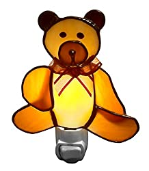 Cute Brown Bear Baby Night Lights - Stained Glass - Nightlights for kids, Infants