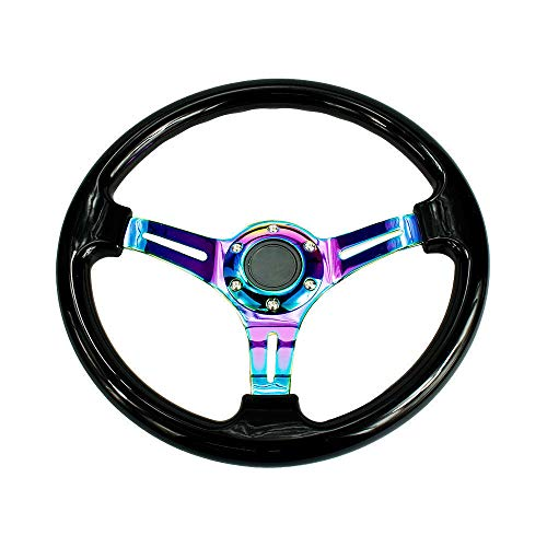 Auto Racing volant 350 mm ABS Plat profond 35,6 cm Drifting Neo Chrome et Noir