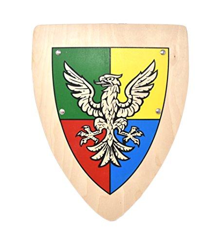 Woudi I Stabiles Kinder Ritter Schild mit verschiedenen Motiven 37,5/30cm Birkenholz Natur I Unbedenkliche Farben I Zwei genietete Halteriemen I Made in EU (Adlerorden)