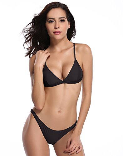 SHEKINI Women's Triangle Bikini Bathing Suits (Medium, Black)
