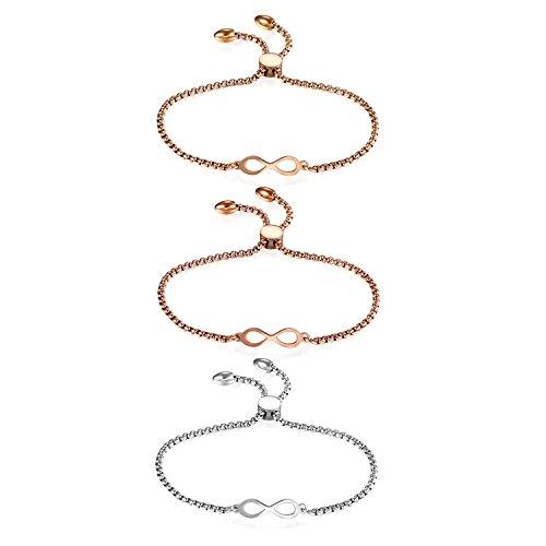 JewelryWe Schmuck 3 PCS Damen Armband, Lieben Infinity Unendlichkeit Zeichen Verstellbar Charm Armkette Armreif, Edelstahl, Rosegold Gold Silber