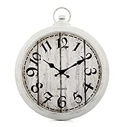 White Wall Clock Silent Non-Ticking Battery Operated Round Retro European Old-Fashioned Design Vintage Craftsmanship Rustic Style for Living Room, Kitchen, Office, Home,School (16 inch)
