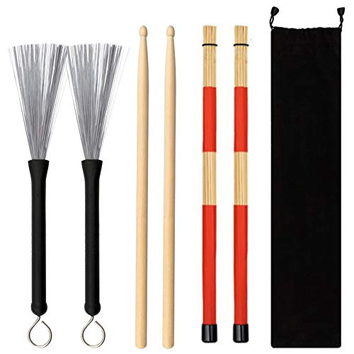 Alician Jazz Drumsticks Set Include Bamboo Drum Sticks Steel Wire Brushes and Velvet Bag for Musical Instrument