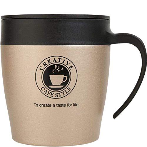Brissa España. Taza Termo Cafe para Llevar. 330 ml. Tazas Originales. Vaso Térmico Café, Té, Infusiones. Taza de Acero Inoxidable. Color Dorado.