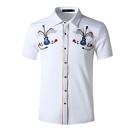 Shirt Negocios Hombre Transpirable Moda Bordado Hombre Shirt Ajustado Elástico Moderno Manga Corta Hombre Camisa Informal Tapeta Botón Urbana Hombre Camisa Q-White 4 XL