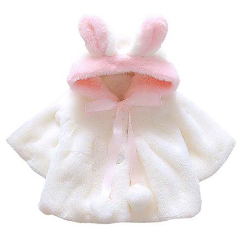 Kids Infant Girls' Fur Fleece Lapel Jacket Long Sleeve Cloak Capes Suit Outdoor Windproof Coat for 6-12 Months White