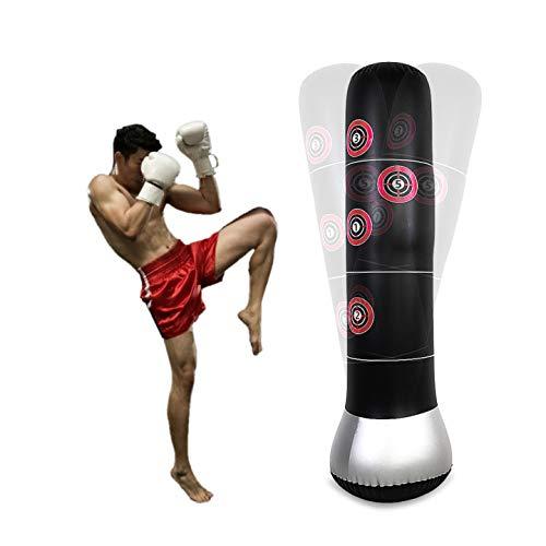 Dioche Sacco da Boxe Gonfiabile, 160cm Sacco Boxe da Terra Portatile per Bambini Adulti Kickboxing Tumbler Bop Sacco con Aria Gonfiatore Pompa a Pedale