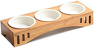 Smith Chu Premium Elevated Pet Bowls, Raised Dog Cat Feeder Solid Bamboo Stand Ceramic Food Feeding Bowl Cats Puppy
