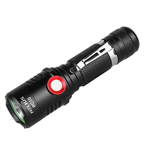 Helius RC15 LED Taschenlampe, Extrem Hell 1600 Lumen CREE Wiederaufladbare Taschenlampen, Stufenloser Dimmmodus, Aufladbar Fackel für Camping Wandern und Notfälle (Inklusive 1 x 18650 Akku)