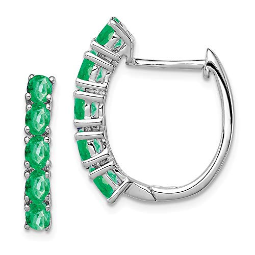 925 Sterling Silver Green Emerald Hinged Hoop Earrings Ear Hoops Set Birthstone May Qe Gemstone Fine Jewellery For Women Gifts For Her