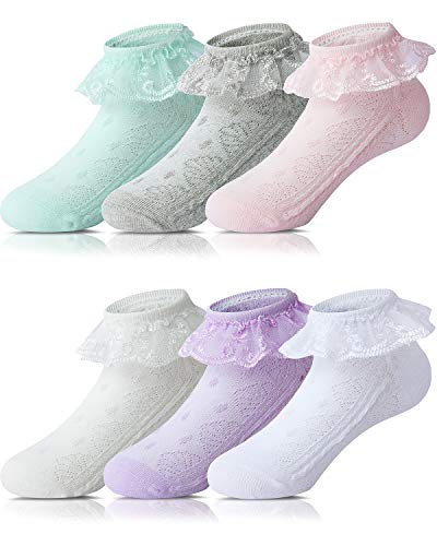 Adorel Calcetines con Volantes para Bebés Niñas 6 Pares Multicolor 20-22 (Tamaño del Fabricante M)