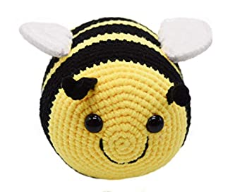 Handmade Crochet Fuzzy Bumblebee Stuffed Animal with Smile Face and White Wings Cuddly Knit Soft Yarn Plush Bee Toy Pretty Sweet Gifts for Kids Boys and Girls Present for Birthday or Party 6 Inch