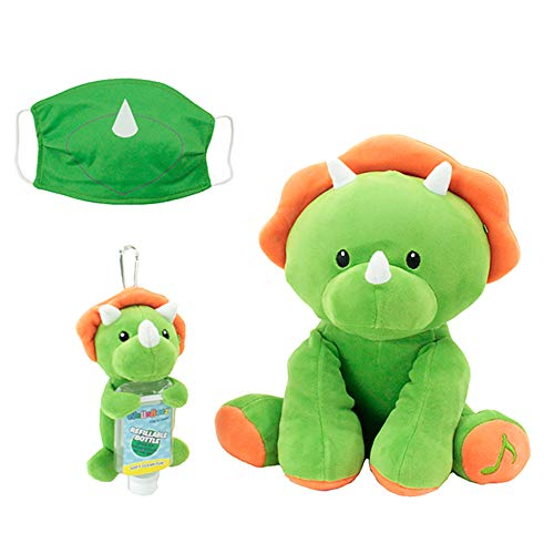 Animal Adventure, WelloBeez – Antimicrobial Plush, Musical Clean Crew – Plush with Hand-Washing Song + Clip & Clean – Plush Keychain with Empty, Refillable Sanitizer Bottle and Face Mask – Dino