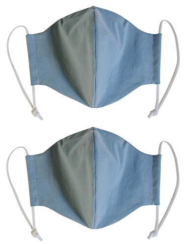100% Cotton Korean Reusable Washable Adjustable Metal Strip Face Mouth Mask 2 Pack Double Layer Anti-Dust Fashion Outdoor Cloth Cover (Blue L)