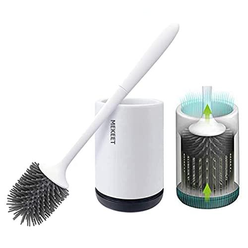 Cepillo y soporte para inodoro de silicona, juego de portaescobillas para inodoro para baño, kit de cepillo de limpieza para inodoro de silicona con cepillo de cerdas suaves (Flooring Upgraded)