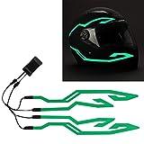 4PCS Upgrade Rechargeable Motorcycle Helmet Light, Night Riding Signal Helmet EL Light, 3 Mode Led Helmet Light Strip Accessories Kit for Motorcycle, Bike Helmet (Green, Rechargeable Powered)