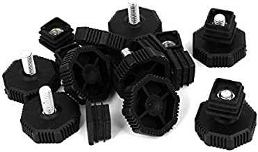 DealMux 19mm x 19mm draad buis insert verstelbare PP kunststof nivellering voet zwart 8 sets