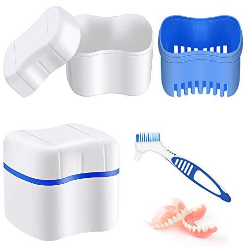 Prothesen Bade Box mit Prothesen Reiniger Bürste Prothesen Zahnbürste, Prothesen Becher Prothesenbox Bade Behälter mit Korb Prothesen Halter Prothesen Bürsten Halter für Reise (Blau)