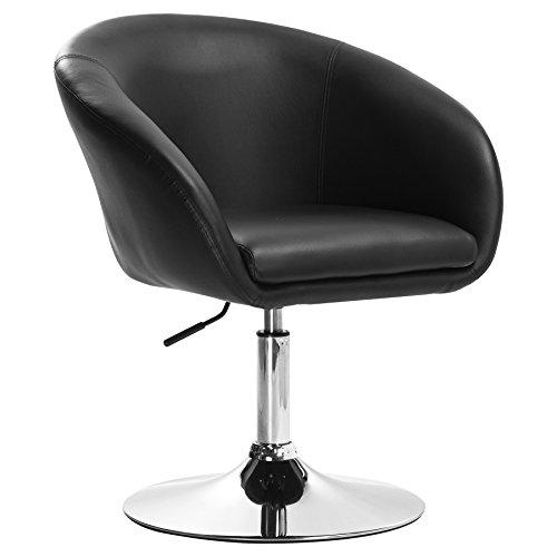 WOLTU BH24sz-1 Barhocker 1er Set, stufenlose Höhenverstellung, verchromter Stahl, Kunstleder, gut gepolsterte Sitzfläche mit Armlehne und Rücklehne, Schwarz