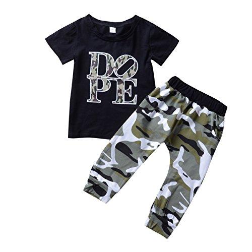 Borlai 1-6T kinderen peuter jongen brieven zwart T-shirt + camouflage broek outfits set