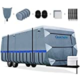 Quictent Upgraded Travel Trailer RV Cover, Extra-Thick 6-ply Camper Cover, Fits 24 - 27Ft Motorhome -Breathable Watertight Quick-Drying Rip-Stop Anti-UV with 2 Windproof Straps, 4 Tire Covers