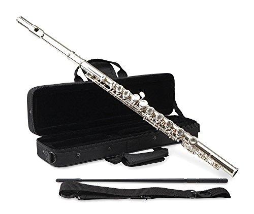 Classic Cantabile FL-100 Querflöte (Tolles Einsteigerinstrument, komplett aus vernickeltem Neusilber, geschlossene Klappen, E-Mechanik, vorgezogenes G, C-Stimmung, inkl. Etui, Zubehör) Silbern
