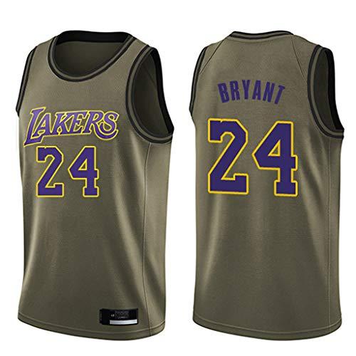 Kobe #24 Lakers Jerseys, Men's Vintage Basketball Jersey Swingman Vest -Army Green (S-XXL)-L