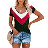 SLYZ Camiseta De Manga Corta para Mujer De Verano, Camiseta De Manga Corta con Cuello Redondo Informal A Juego con El Color