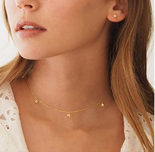 KONZFK collarVintage Colgante de múltiples Capas Collar de Mariposa para Mujeres Mariposas Luna Estrella Encanto Gargantilla Collares Boho joyería de Moda Regalo