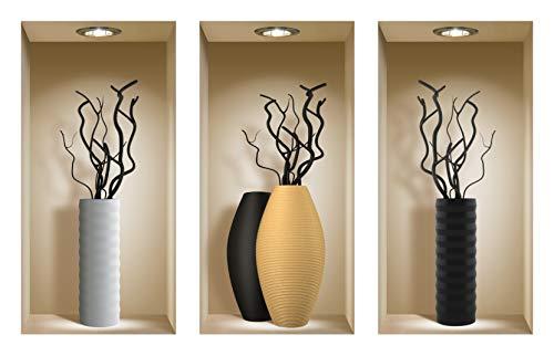 DIY Pegatinas Etiquetas para Pared Desmontables de Vinilo 3D Arte Mágico de Nisha, Conjunto de 3, Ramas negras
