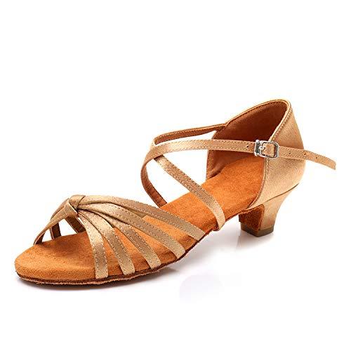 SWDZM Mujer/Niñas Zapatos de Baile/estándar de Zapatos de Baile Latino Satén Ballroom Modelo ES-XGG Beige 37.5 EU/23.8CM
