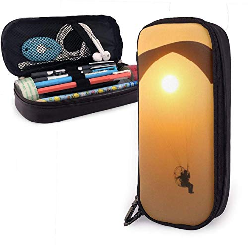 Gleitschirm Silhouette Sonnenuntergang Sport Leder Bleistift Fall Reißverschluss Briefpapier Tasche Tasche Stift Fall Make-up Kosmetiktasche