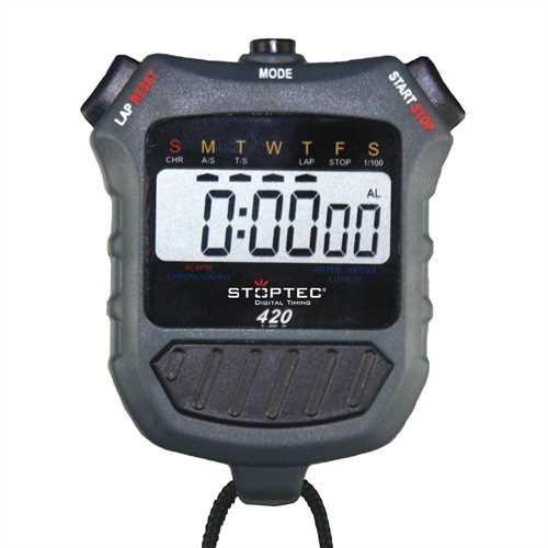 Stoptec Stoppuhr 420 - Digital Profi Stoppuhr mit Druckpunktmechanik | einfacher Batteriewechsel | Uhrzeit & Datum | spritzwasserfest