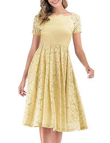 DRESSTELLS Damen Brautkleid Standesamt Spitzenkleid Kurzarm Cocktailkleider Party Ballkleid Yellow S