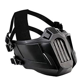 Fansport Airsoft Half Face Mask with Adjustable Strap Paintball Mesh Mask Tactical Helmet Masks Black Face Mask for Men  Black