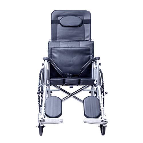 XINGZHE Rollstuhl-Transport Stuhl, Medical Ultraleicht Folding Simulation Ledersitz Abnehmbare High Back Halbliegekomfort Dritte Gang Verordnung, Sitzbreite 18 Zoll Schwarz Transportstuhl
