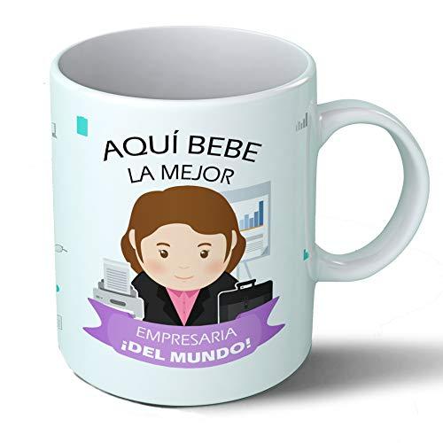 Planetacase Taza Desayuno Aquí Bebe la Mejor empresaria del Mundo Regalo Original Empresas Ceramica 330 mL