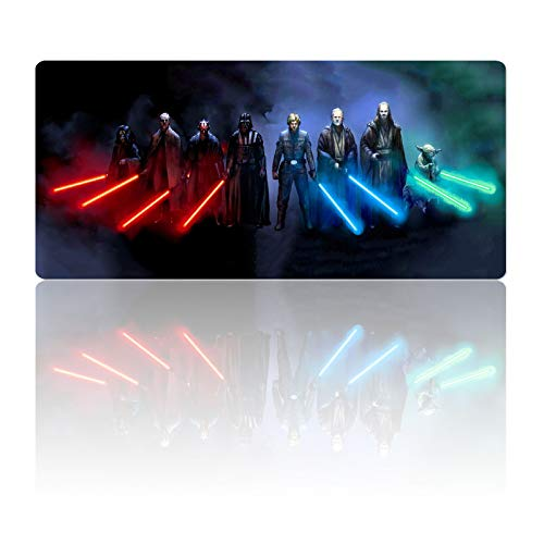 Mouse Pad Large Sith Lord and Jedi Lightsaber Knights-Non-Slip Rubber Base-Anti-Fraying Stitched Frame Mousepad-Waterproof-Soft Laptop Desk Pad-Computer Keyboard and Mice Combo Pads Mat-23.6X11.8