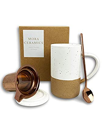 Mora Ceramics Tea Mug with Loose Leaf Infuser, Spoon and Lid, 12 oz, Microwave and Dishwasher Safe Coffee Cup - Rustic Matte Ceramic Glaze, Modern Herbal Tea Strainer - Great Gift for Women, Petro