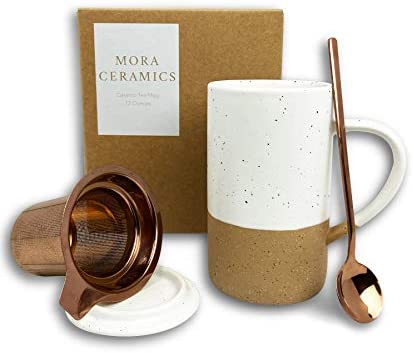 Mora Ceramics Tea Cup with Loose Leaf Infuser Spoon and Lid 12 oz Microwave and Dishwasher Safe product image