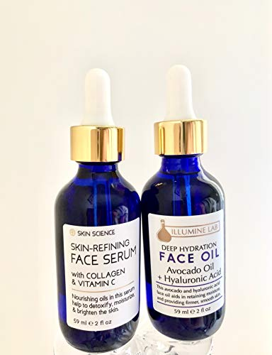 Bundle of Skin Science Refining Face Serum with Collagen and Vitamin C & Illumine Lab Deep Hydration Face Oil with Avocado Oil and Hyaluronic Acid 59 ml / 2 fl oz each