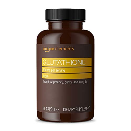 Amazon Elements Glutathione, 500mg, 60 Capsules, 2 month supply (Packaging may vary)