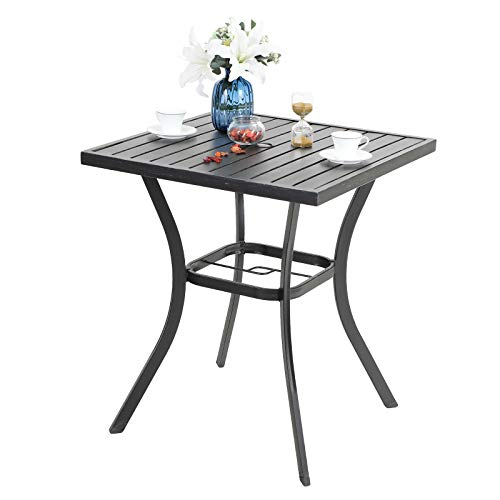 PHI VILLA Outdoor Patio 31' Square Height Bar Table with Umbrella Hole - 36' Height Coating Old Craft