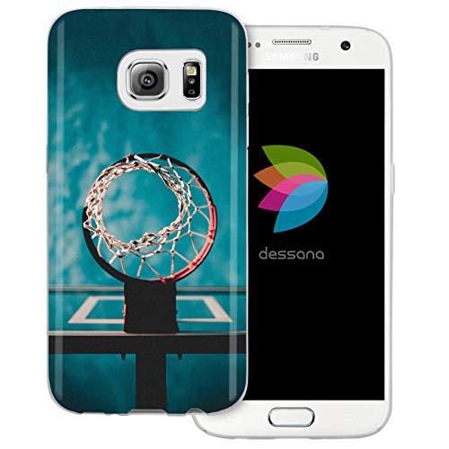 dessana - Cover trasparente per Samsung Galaxy S7, motivo: pallone da basket