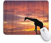 ZOMOY マウスパッド 個性的 おしゃれ 柔軟 かわいい ゴム製裏面 ゲーミングマウスパッド PC ノートパソコン オフィス用 デスクマット 滑り止め 耐久性が良い おもしろいパターン (美しいサンセットオレンジに対してキリンのカラフルなアフリカのシルエット)