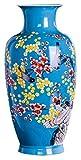 Vase Grave cerámica clásica realista hecha a mano flores y pájaros para decoración de flores secas arte hogar boda escritorio azul 22 x 43 cm para flores